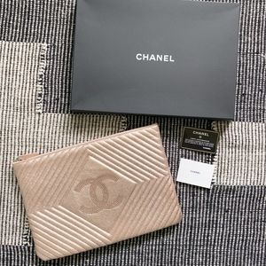 Authentic Chanel Rose Gold Leather Clutch